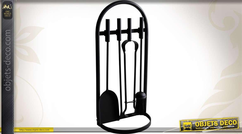 Valet de cheminée en métal noir avec  4 accessoires