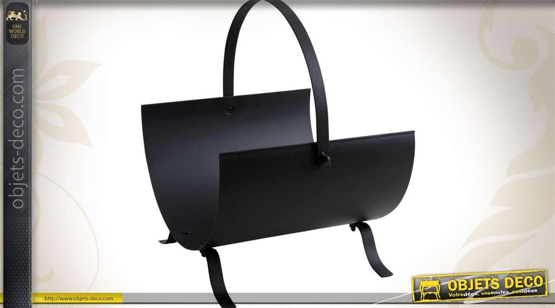 panier porte b ches en demi cercle en m tal noir antique. Black Bedroom Furniture Sets. Home Design Ideas
