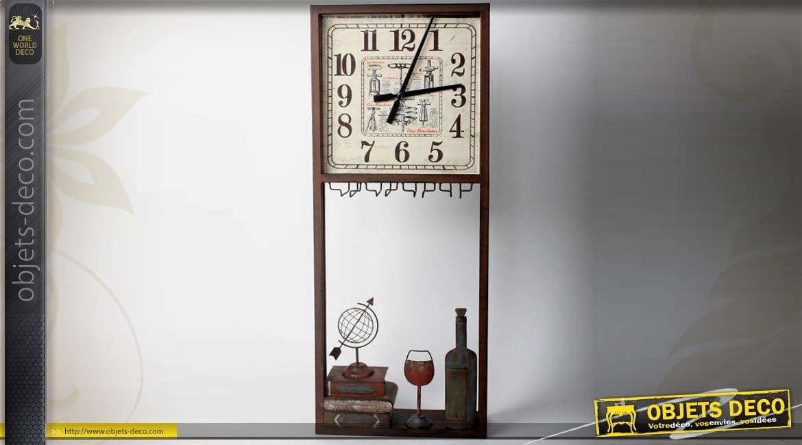 Horloge r tro d co murale en m tal th me vin et oenologie for Decoration murale vin