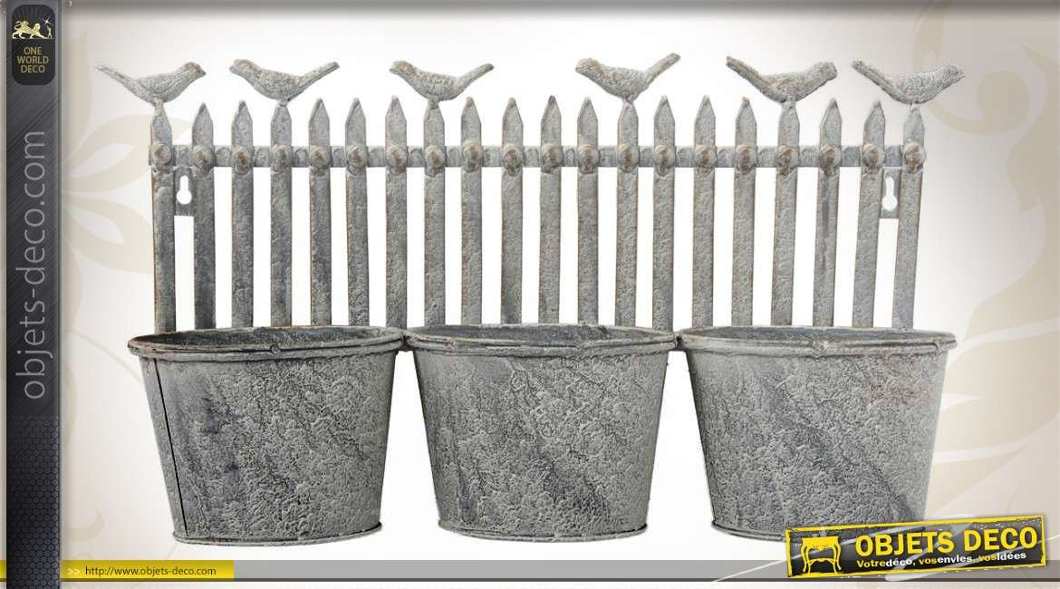 Jardini re murale 3 pots en m tal finition zinc antique for Deco murale zinc