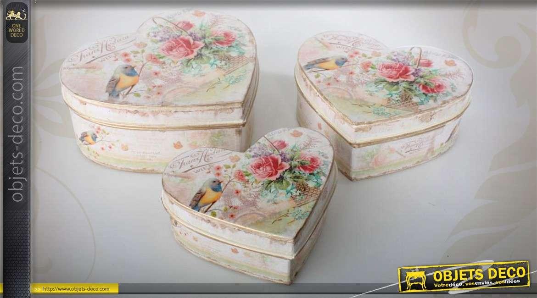 3 bo tes en m tal en forme de coeurs de style romantique. Black Bedroom Furniture Sets. Home Design Ideas