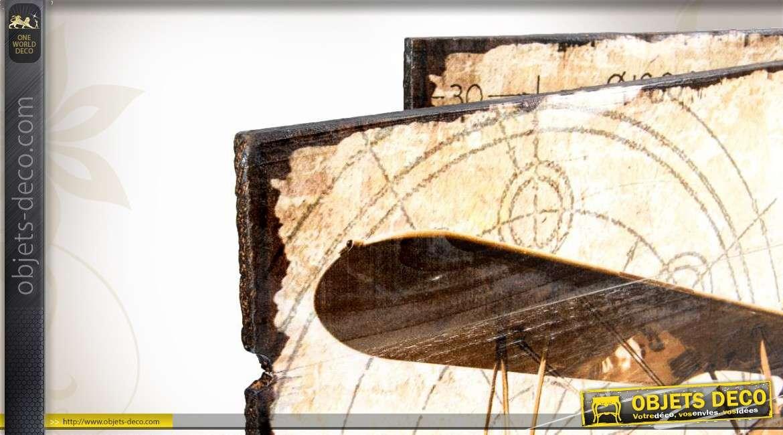 Tableaux sur bois effet vieilli d 39 anciens avions biplans for Decoration sur bois