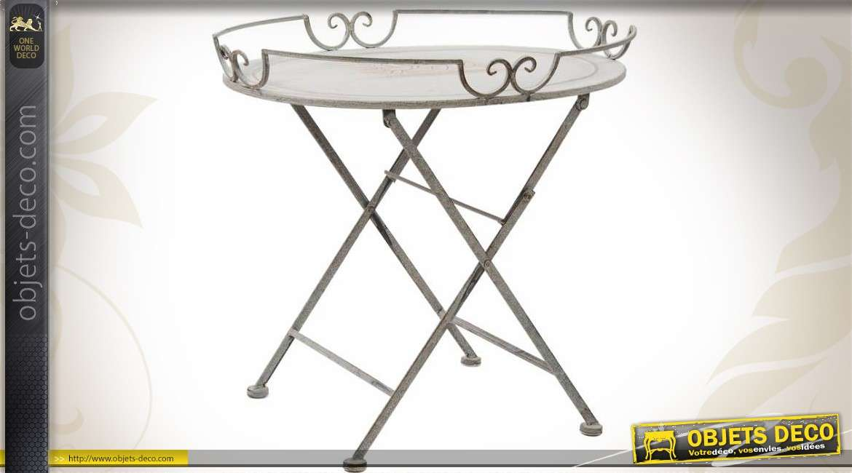 Table basse ovale en m tal et fer forg coloris gris clair - Table d appoint fer forge ...