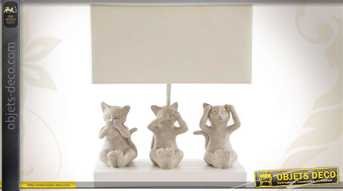 lampe poser rectangulaire trois statuettes de chatons. Black Bedroom Furniture Sets. Home Design Ideas