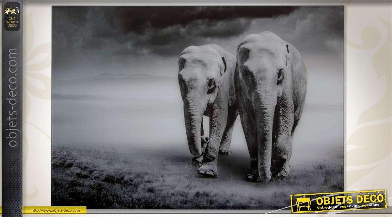 Souvent Tableau en verre trempé : couple d'éléphants en noir et blanc EZ37