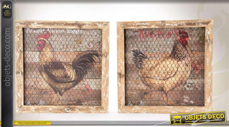 2 tableaux style campagne r tro sur bois motifs de poules. Black Bedroom Furniture Sets. Home Design Ideas