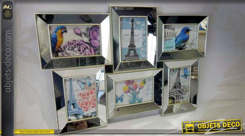 p le m le mural six vues bordures biseaut es en miroirs. Black Bedroom Furniture Sets. Home Design Ideas