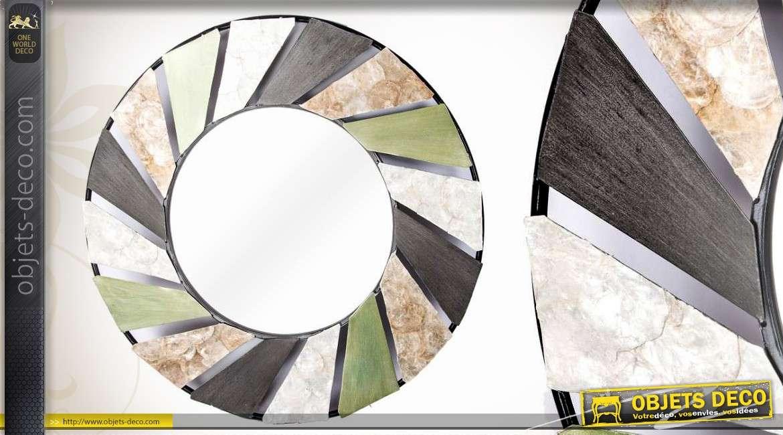 D coration murale miroir rond avec lamelles textur es 68 cm for Decoration murale avec miroir