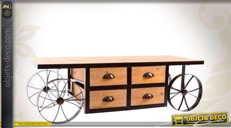 meuble pour t l vision en bois et en m tal 4 tiroirs. Black Bedroom Furniture Sets. Home Design Ideas