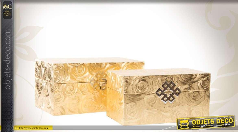 duo de bo tes d coratives en bois coloris dor. Black Bedroom Furniture Sets. Home Design Ideas