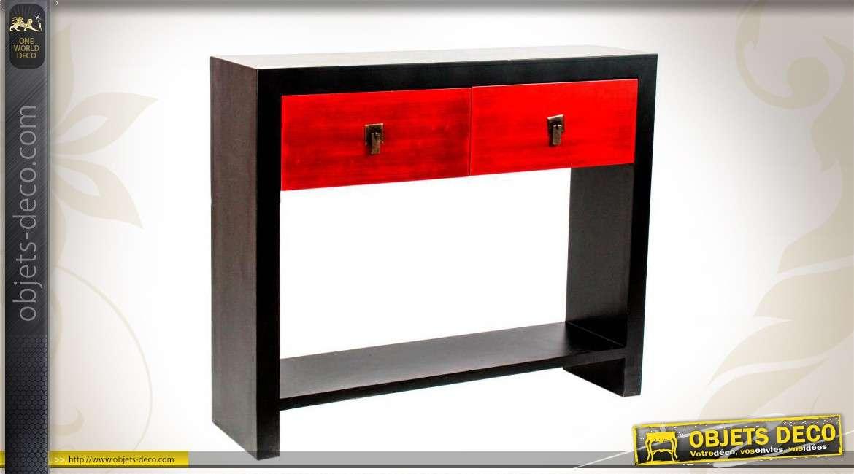 Conole de style moderne en bois coloris noir et rouge for Objet deco rouge et noir