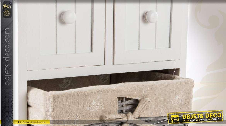 Commode blanche en bois aves 2 tiroirs et 2 paniers en osier - Commode en osier ...