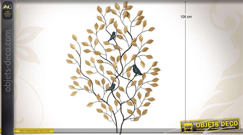 d coration murale buisson feuillage dor avec oiseaux 106 cm. Black Bedroom Furniture Sets. Home Design Ideas
