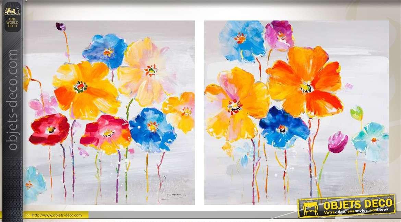 duo de tableaux motifs fleuris et color s en 100 x 100 cm. Black Bedroom Furniture Sets. Home Design Ideas