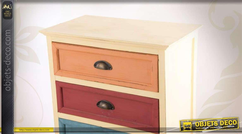 commode multicolore en bois avec 3 tiroirs et 2 portes. Black Bedroom Furniture Sets. Home Design Ideas