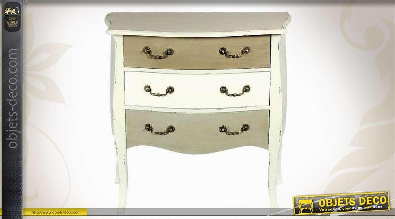 commode blanche en bois 3 tiroirs coloris vieillis. Black Bedroom Furniture Sets. Home Design Ideas