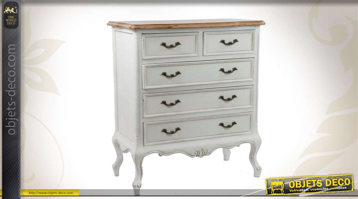 commode blanche en bois de style classique 5 tiroirs. Black Bedroom Furniture Sets. Home Design Ideas