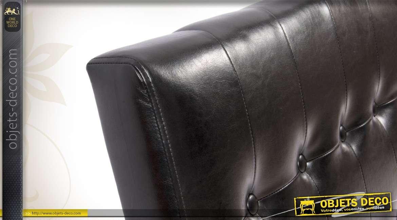 t te de lit en similicuir noir capitonn. Black Bedroom Furniture Sets. Home Design Ideas