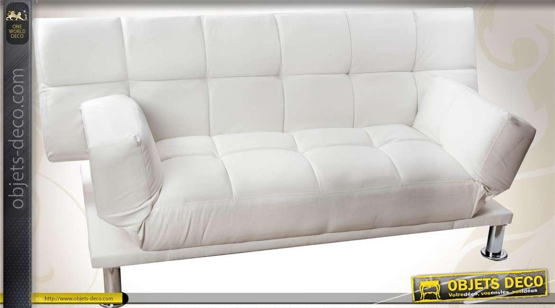 Canape Clic Clac En Similicuir Blanc Style Retro Design 180 Cm