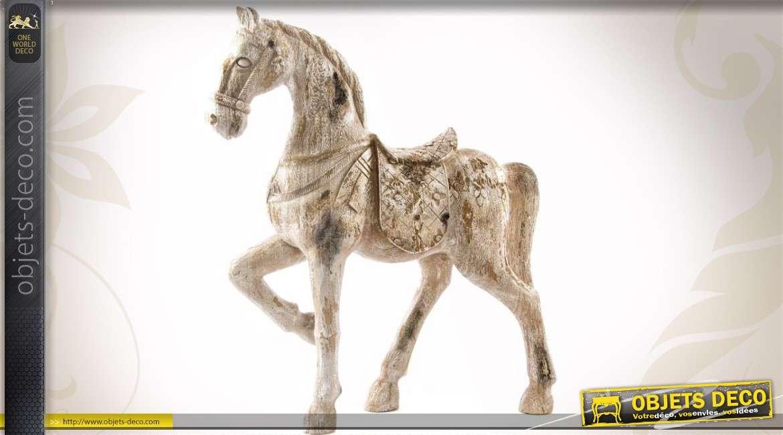 statuette de cheval imitation bois ancien blanc vieilli 45 cm. Black Bedroom Furniture Sets. Home Design Ideas
