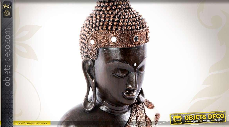 Statuette t te de bouddha thai finition cuivr e et miroirs for Tete de bouddha deco