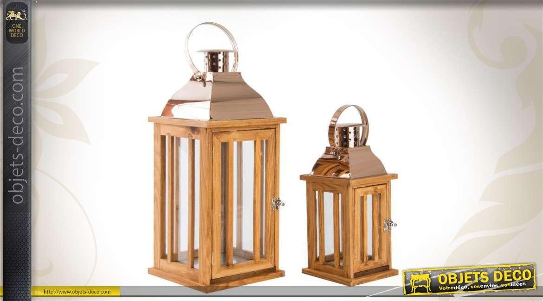 ensemble de 2 lanternes en bois verre et m tal. Black Bedroom Furniture Sets. Home Design Ideas