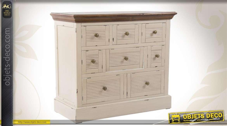 commode en bois de style campagne 8 tiroirs. Black Bedroom Furniture Sets. Home Design Ideas