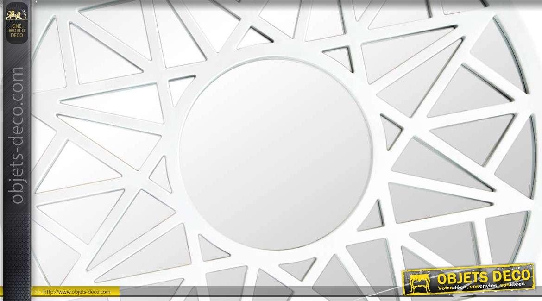 Miroir rond blanc motifs g om triques 50 cm for Miroir rond deco