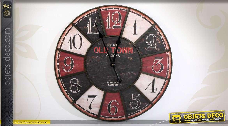 horloge murale en bois et m tal de style r tro 60 cm. Black Bedroom Furniture Sets. Home Design Ideas