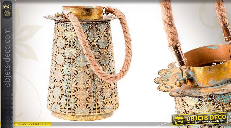 Lanterne poser de style oriental color vert ancien et or for Objet deco a poser
