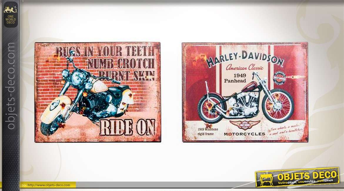 deux plaques vintage en m tal th me motos us d 39 autrefois. Black Bedroom Furniture Sets. Home Design Ideas