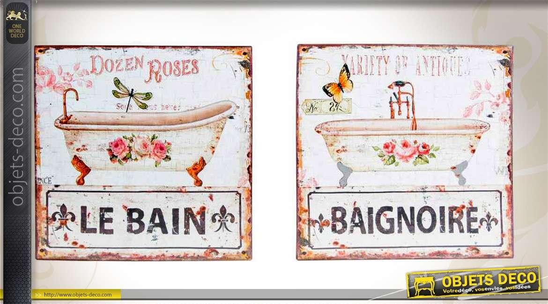 Duo de plaques en m tal de style vintage pour la salle de Deco salle de bain retro