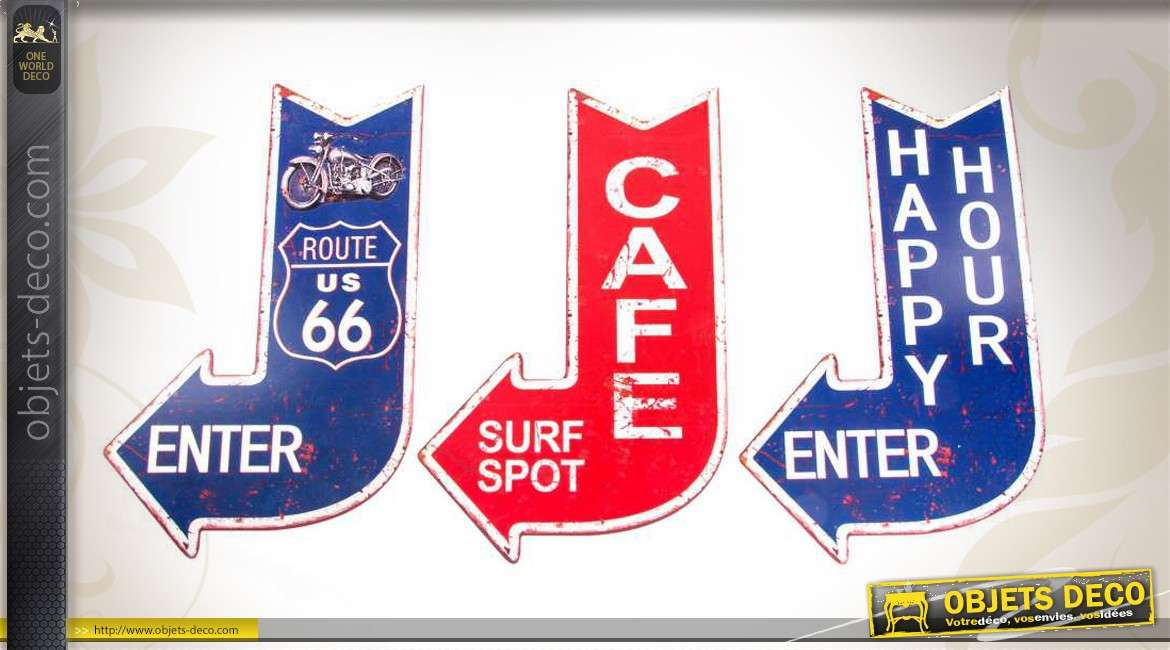 d co murale r tro fl ches route 66 surf spot et happy hour. Black Bedroom Furniture Sets. Home Design Ideas