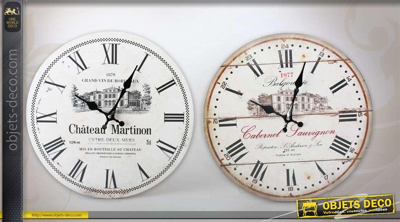 2ec43a1902882e Duo d horloges murales style rétro et grandes cuvées Ø 34 cm