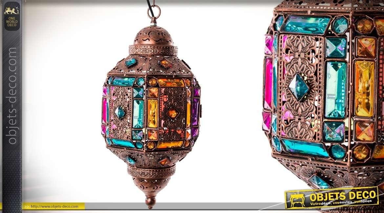Suspension lanterne électrifiée en métal cuivré et façonné de style oriental