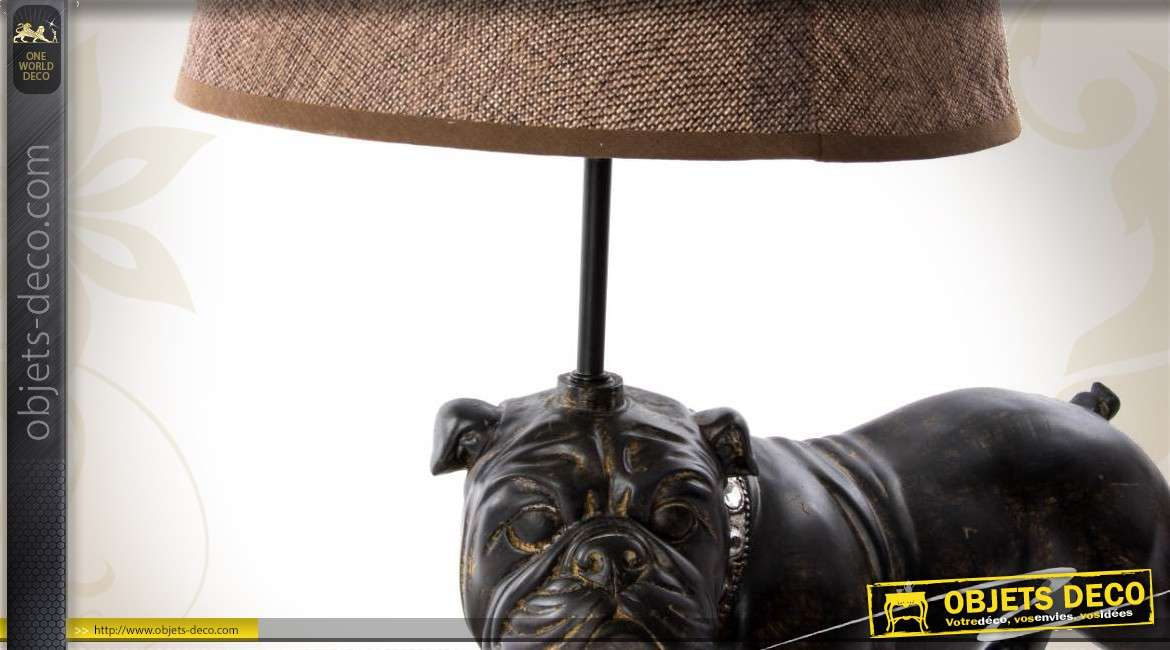 lampe poser avec statuette de bouledogue 44 cm. Black Bedroom Furniture Sets. Home Design Ideas