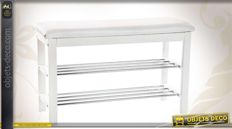 banquette chaussures en m tal coloris blanc. Black Bedroom Furniture Sets. Home Design Ideas