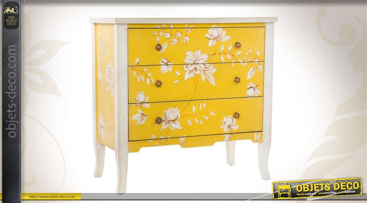 commode en bois 3 tiroirs jaune et blanche. Black Bedroom Furniture Sets. Home Design Ideas