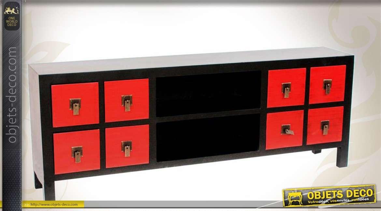 meuble tv noir et rouge style meuble japonais avec 8 tiroirs. Black Bedroom Furniture Sets. Home Design Ideas