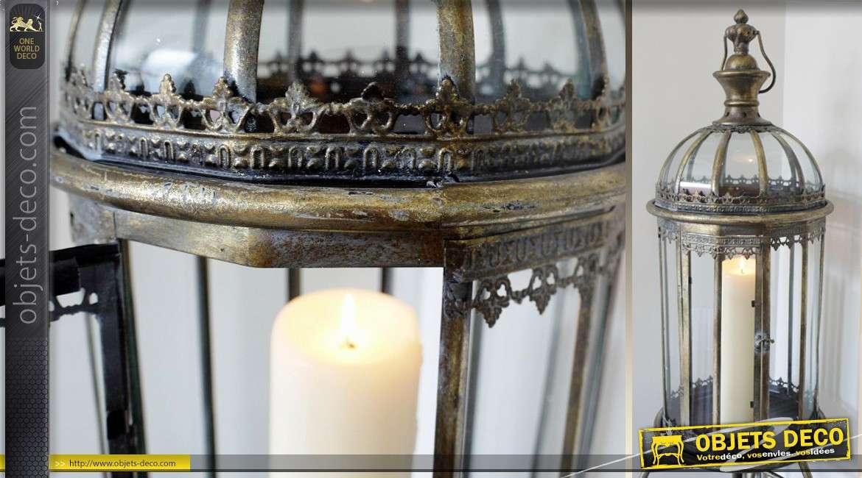 Grande lanterne finition bronze antique sur pied 115 cm