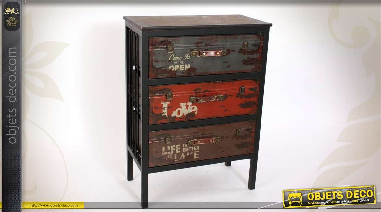 commode en bois et en m tal 3 tiroirs. Black Bedroom Furniture Sets. Home Design Ideas