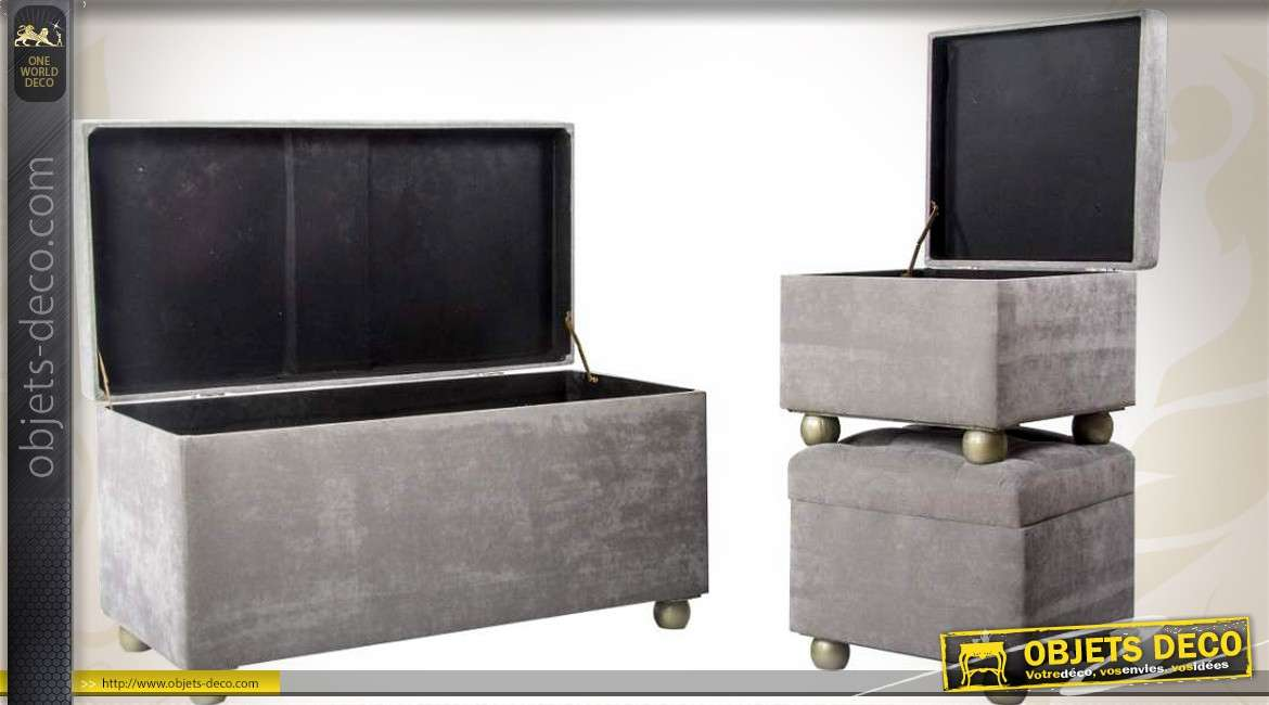 banquette coffre deluxe avec 2 poufs coloris gris velours. Black Bedroom Furniture Sets. Home Design Ideas