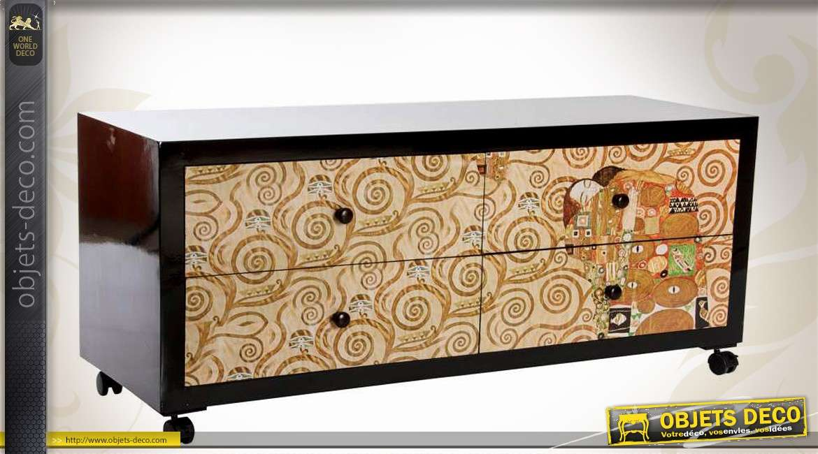 meuble tv style art d co inspiration gustav klimt l 39 abbraccio. Black Bedroom Furniture Sets. Home Design Ideas
