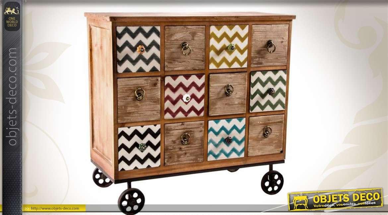 commode de style industriel et clectique 12 tiroirs. Black Bedroom Furniture Sets. Home Design Ideas