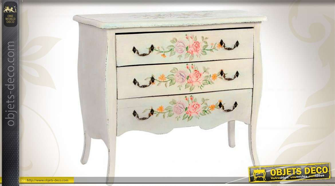 commode blanche trois tiroirs avec motifs illustr s de roses. Black Bedroom Furniture Sets. Home Design Ideas
