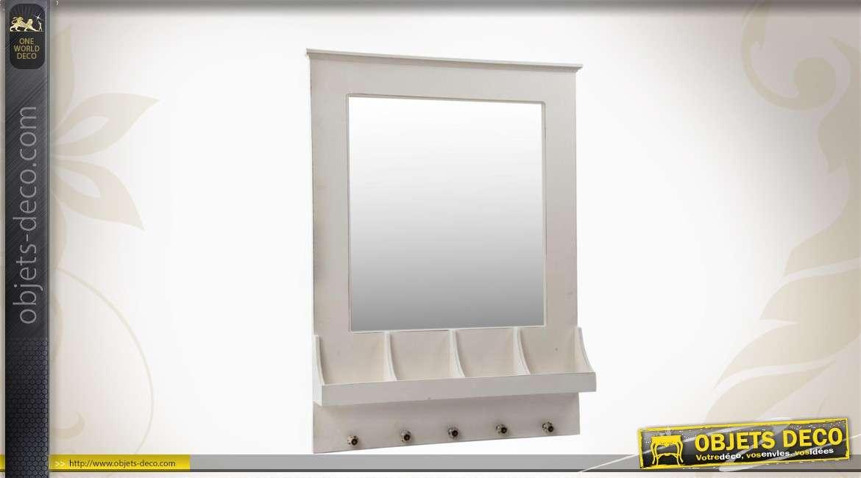 Miroir mural en bois avec 5 pat res et 4 casiers - Deco avec miroir mural ...