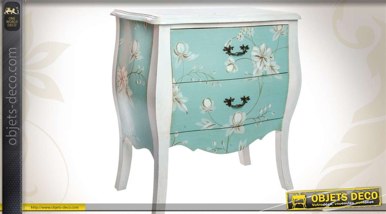 Commode de charme 2 tiroirs patine bleu d 39 eau motifs fleuris for Petite commode rangement