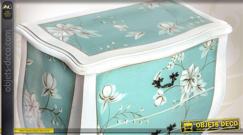 commode de charme 2 tiroirs patine bleu d 39 eau motifs fleuris. Black Bedroom Furniture Sets. Home Design Ideas