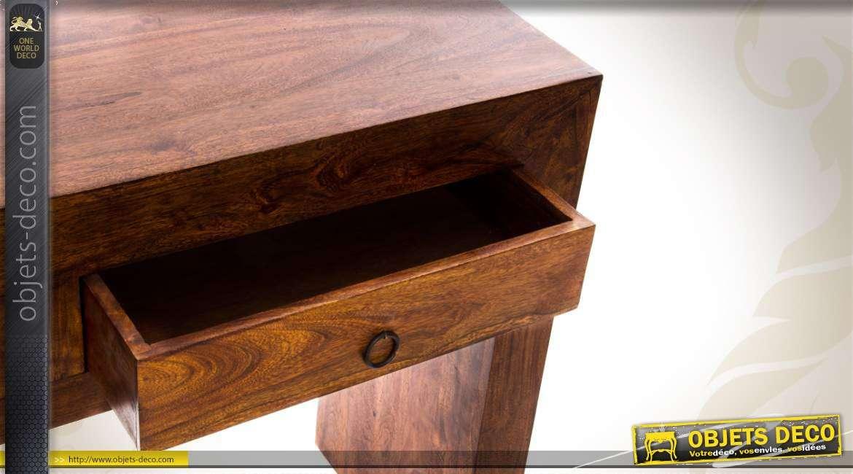 console en bois massif de sheesham avec deux tiroirs. Black Bedroom Furniture Sets. Home Design Ideas