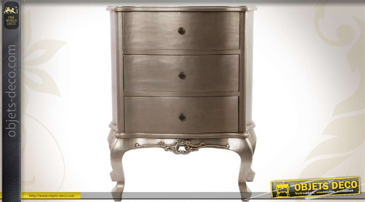 commode 3 tiroirs de style louis xv avec finition gris argent. Black Bedroom Furniture Sets. Home Design Ideas